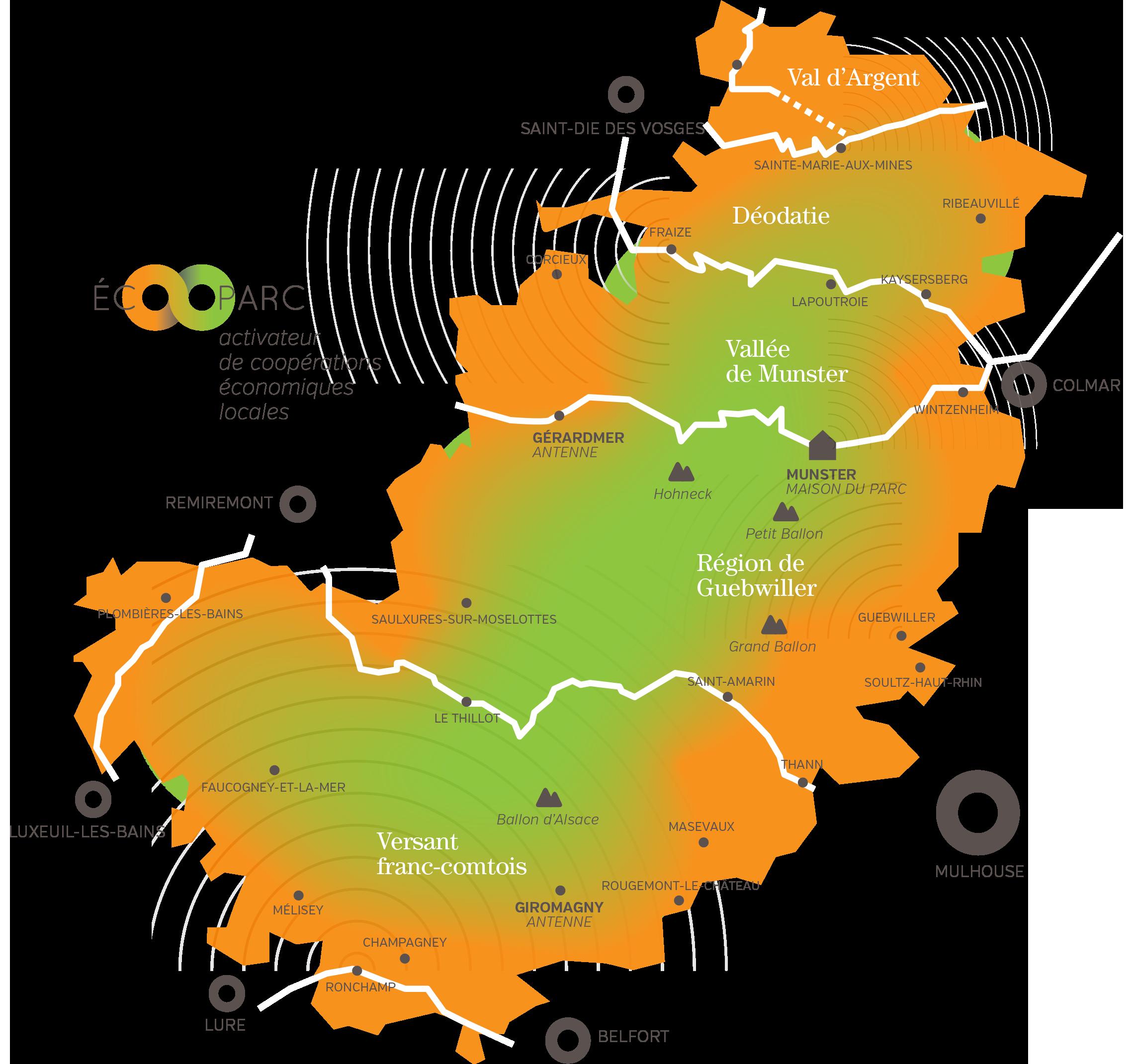 16 vallées alsaciennes, lorraines et franc-comtoises du sud du massif Vosgien