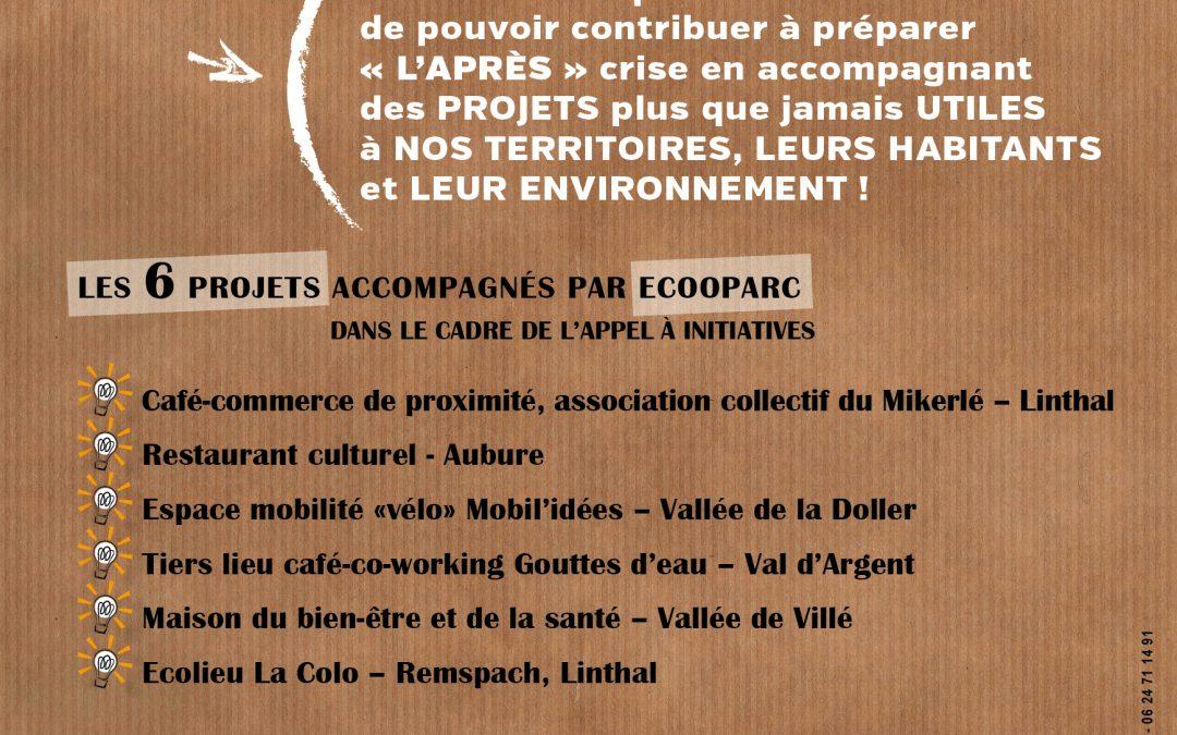 LES 6 PROJETS ACCOMPAGNÉS PAR ECOOPARC DANS LE CADRE DE L'APPEL À INITIATIVES